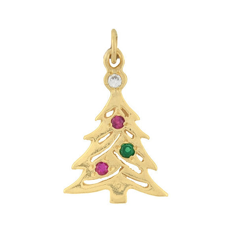 Vintage 14kt Multi Gemstone Christmas Tree Charm