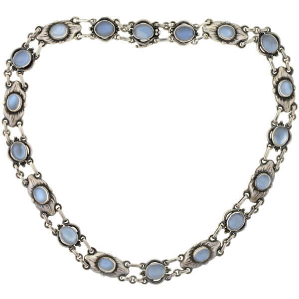 GEORG JENSEN Vintage Sterling Moonstone Link Necklace 16.5""