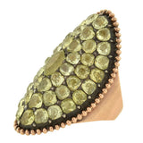 Georgian Huge 12kt Chrysoberyl Curved Plaque Ring 9ctw