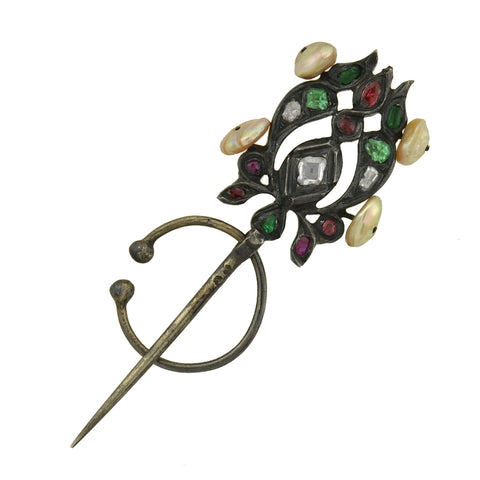 "Georgian Rare Silver Multi Gemstone & Pearl ""Fibula"" Pin"