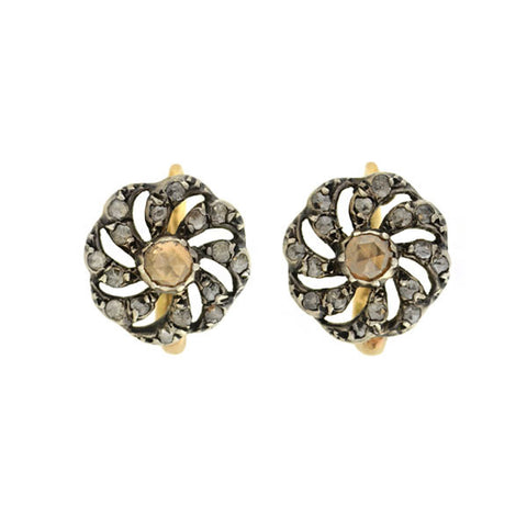 Victorian 14kt/Silver Foil Back Diamond Pinwheel Earrings