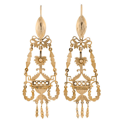 Georgian Dramatic 18kt Day & Night Earrings