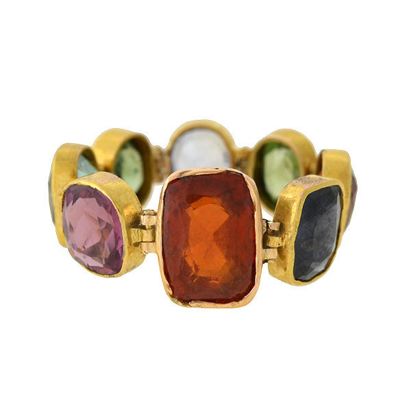 Georgian Rare 12kt Hinged Multi Gemstone Ring