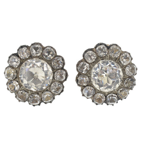 Victorian Sterling & 14kt French Paste Cluster Clip Earrings