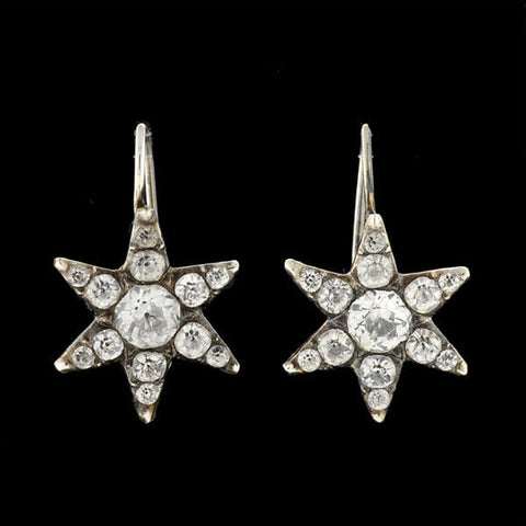 Late Georgian Sterling & French Paste Starburst Earrings