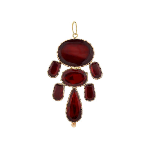 Georgian 18kt Large Foil Back Garnet Pendant