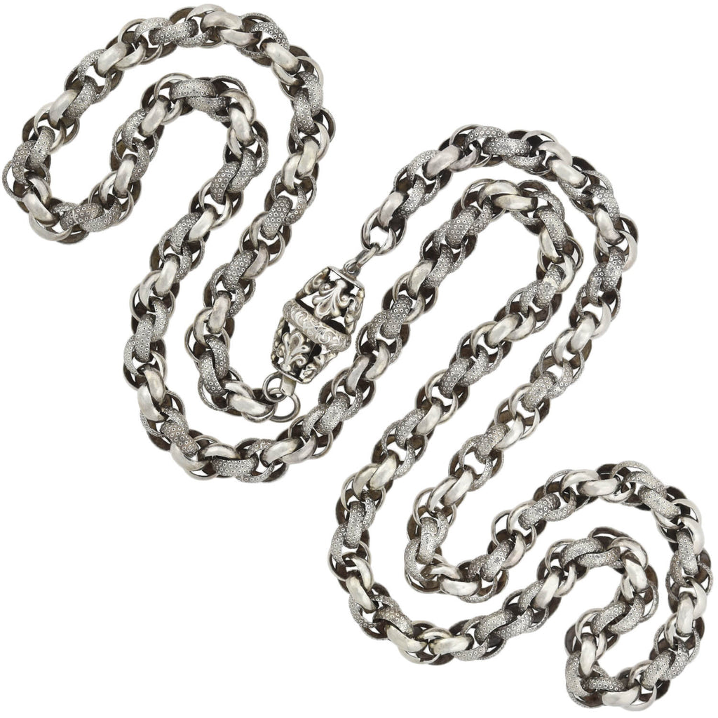 Georgian Sterling Silver Handmade Textured Link Chain Necklace 38""