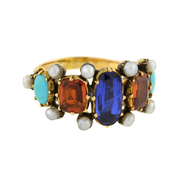 Georgian Rare 15kt Multi Gemstone & Pearl Ring