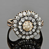 Georgian 18kt Mine & Rose Cut Diamond Double Halo Cluster Ring 1.90ctw