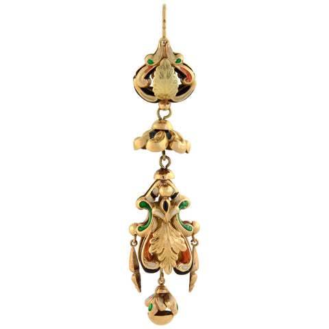 Georgian Dramatic 18kt Swiss Enamel Earrings
