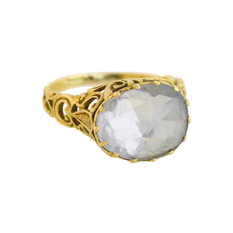 Georgian 14kt Foil Backed 10ct White Sapphire Filigree Ring