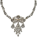 Georgian Sterling Rose Cut Diamond Pin & Necklace Set