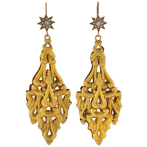 Georgian Dramatic 18kt Gold Diamond Starburst Earrings