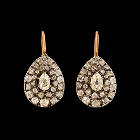 Georgian 14k Sterling Diamond Teardrop Earrings 2ctw+