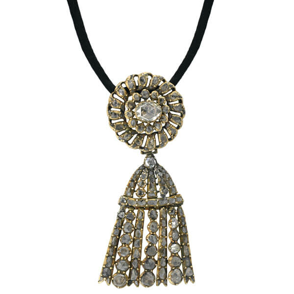 Georgian Silver Gilt Rose Cut Diamond Tassel Pendant Necklace