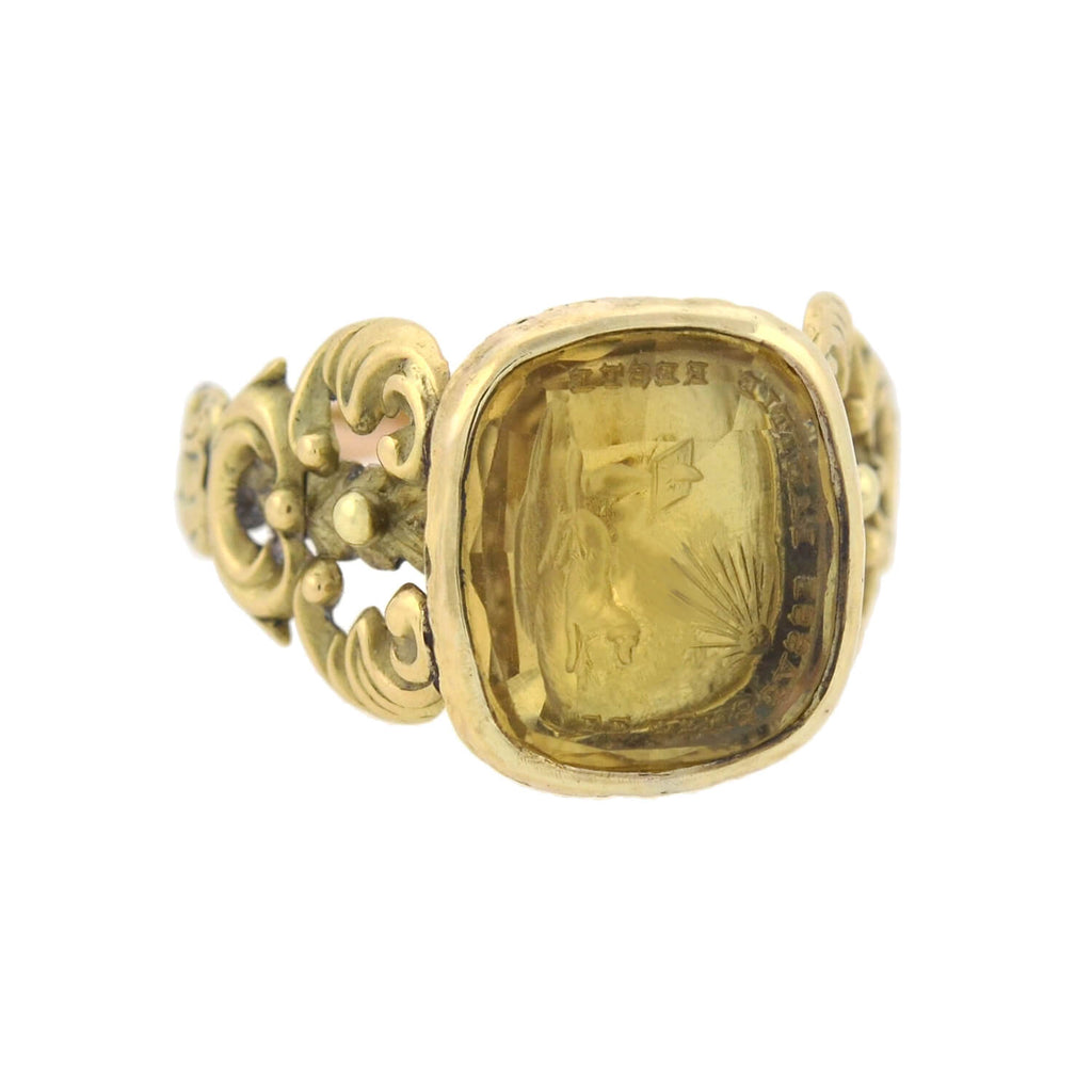 "Georgian 15kt Foil Back Quartz Dog ""Time Passes Friendship Remains"" Intaglio Ring"