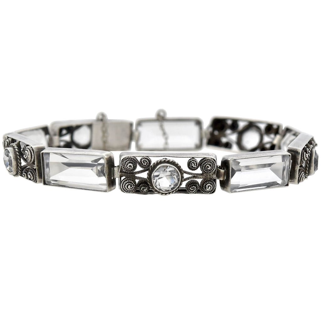 Art Deco German Sterling Rock Crystal Link Bracelet