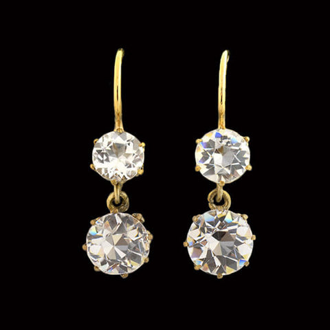 Estate 14kt Mixed Metals Diamond Flower Studs