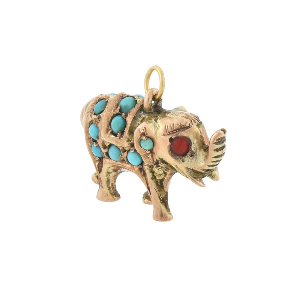 Late Victorian Gilded Silver Turquoise + Coral Elephant Charm Pendant
