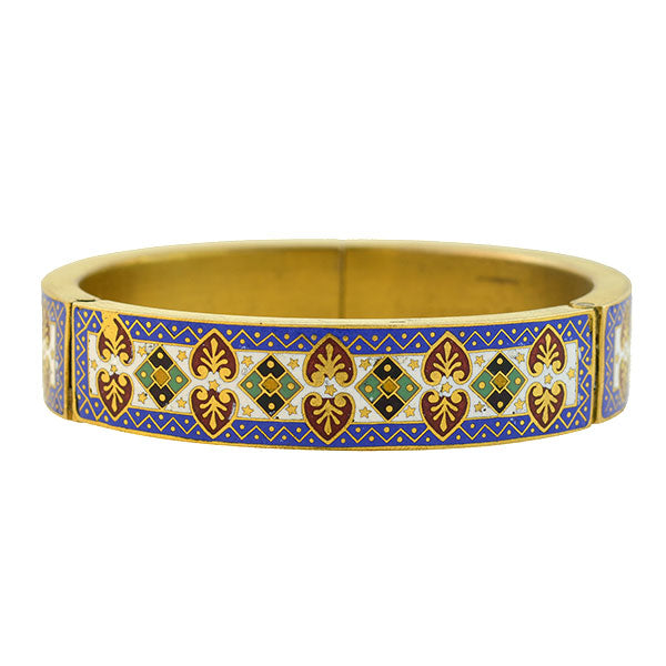 Late Victorian Silver Gilt & Enamel Hinged Bangle Bracelet