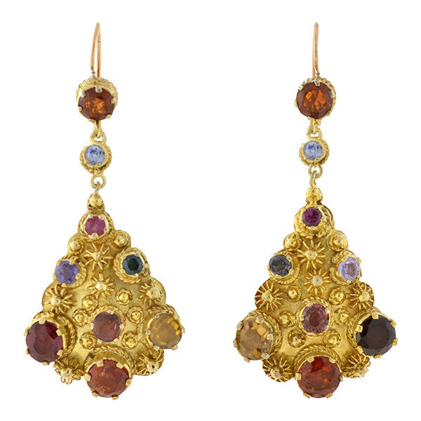 Vintage Silver Gilt & Multi Gemstone Earrings