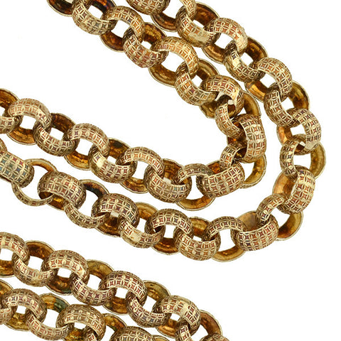 Victorian Sterling Gilt Fancy Link Chain Necklace 28""