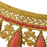 French Empire Regency Era Faceted Coral & Gilt Tiara