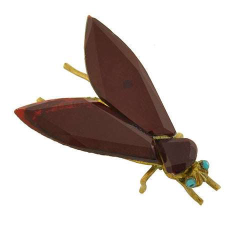 Early Victorian Brass & Red Vauxhall Glass Insect Fly Pin