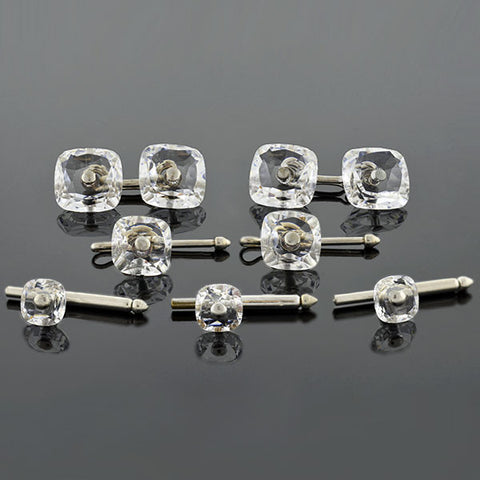 Late Art Deco Silver-Plated Crystal 7-Piece Cufflink Set