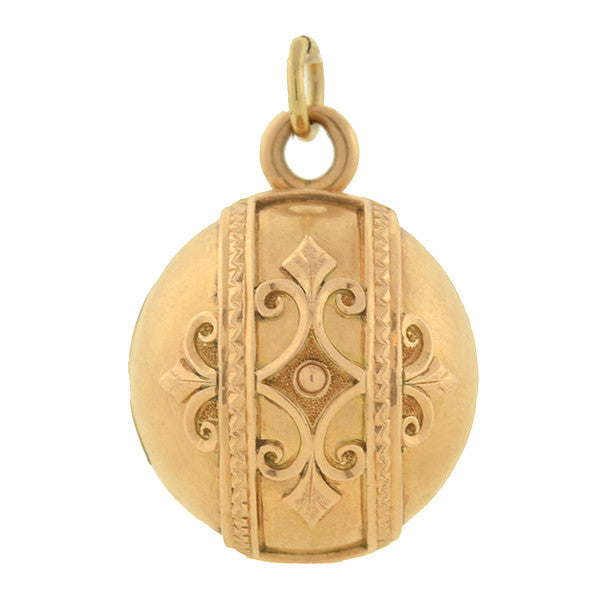 Victorian 14kt Yellow Gold Ball Locket