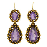 Art Nouveau 14kt Hand Wrought Amethyst Earrings