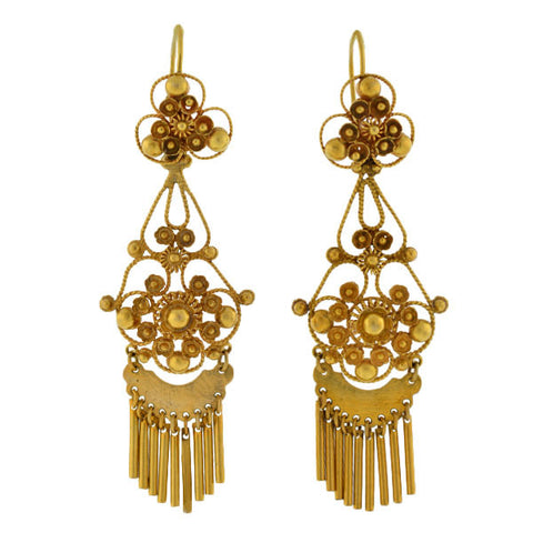 Retro 14kt Gold Cannetille Wirework Earrings