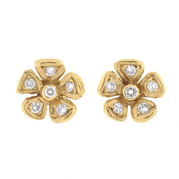 Estate 14kt Gold & Diamond Flower Stud Earrings