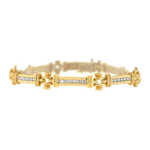 Estate 14kt Gold Diamond Link Bracelet 1.00ctw