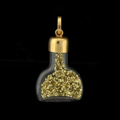 "Vintage 14kt ""Gold Dust"" Miniature Glass Bottle Charm"