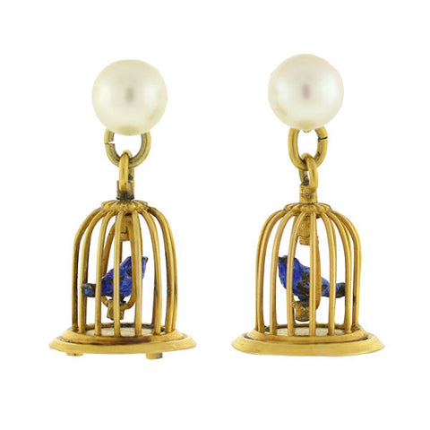 Vintage 14kt Enamel & Cultured Pearl Birdcage Earrings
