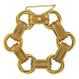 Victorian Unusual 18kt Gold Book Chain Etruscan Link Bracelet