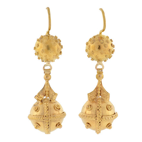 Victorian 14kt Yellow Gold Etruscan Earrings