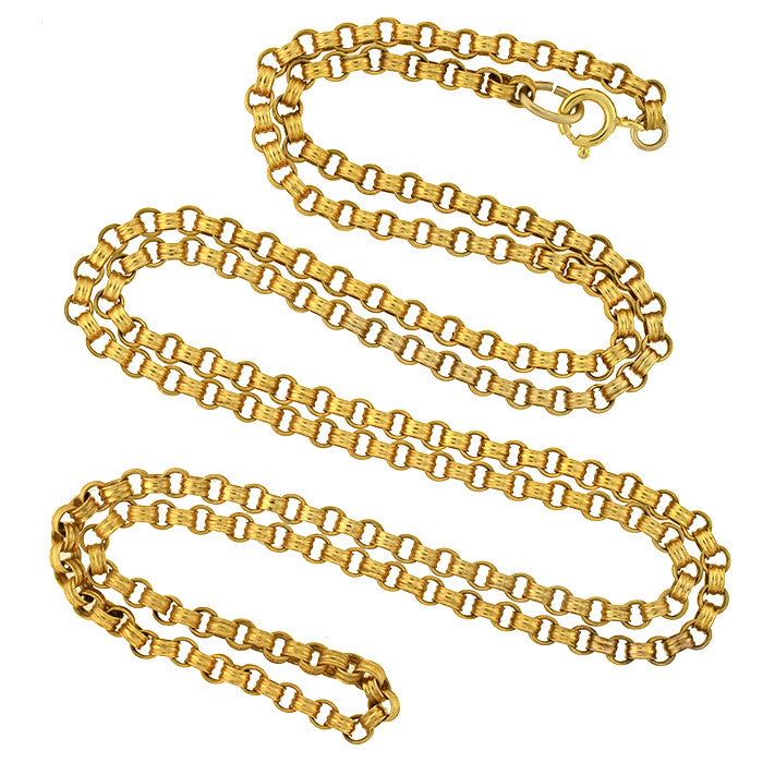 Victorian Gold-Filled Beveled Link Chain 35""