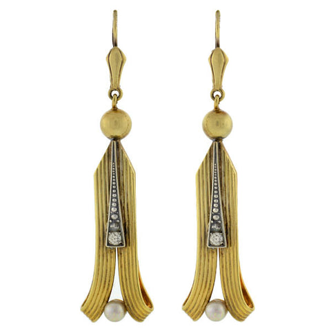 Art Deco Gold-Filled French Paste & Pearl Earrings