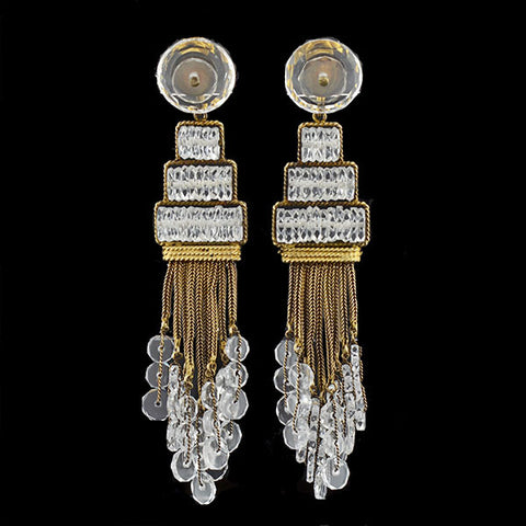 Art Deco Gold-Filled Rock Quartz Chandelier Earrings