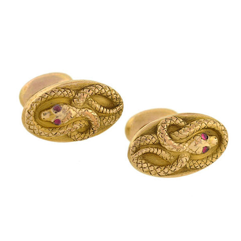 Victorian Gold-Filled French Paste Snake Cufflinks