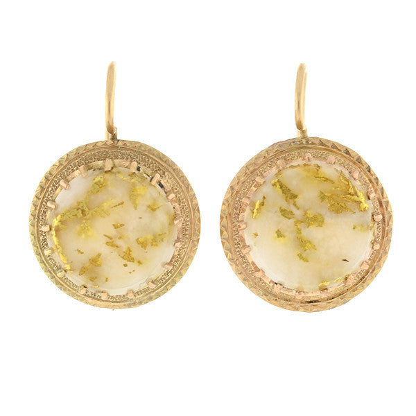 Victorian 14kt Gold & Gold Quartz Earrings