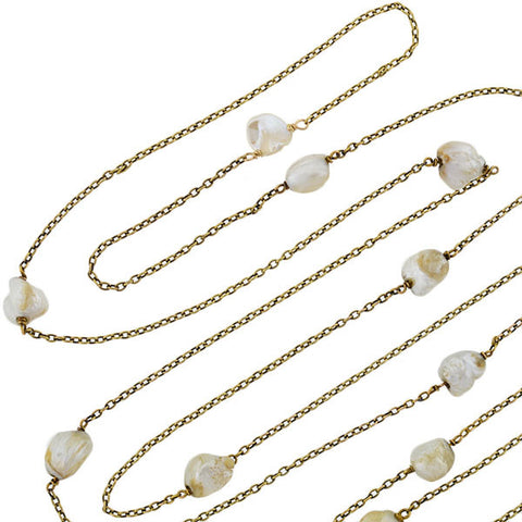 Victorian 14kt Mississippi River Pearl Chain Necklace 49""