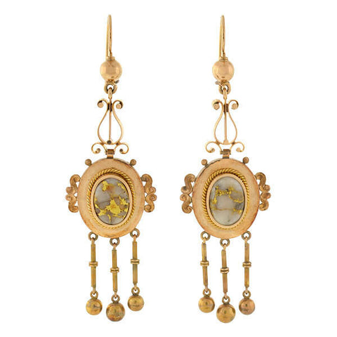 Victorian Long 14kt Dangling Gold Quartz Earrings