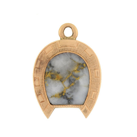 Victorian 15kt Inlaid Gold Quartz Horseshoe Pendant