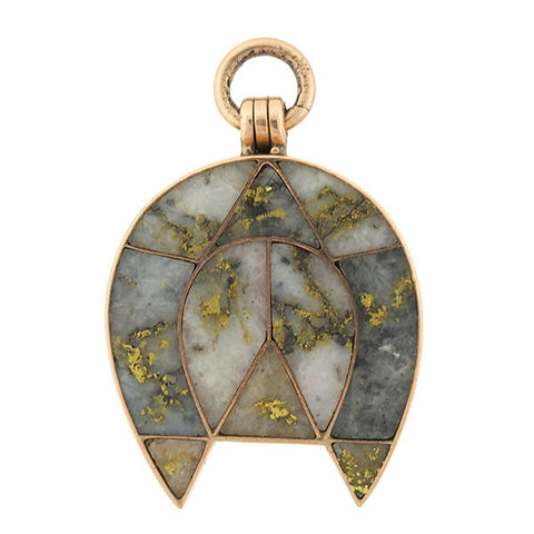 Victorian 14kt Inlaid Gold Quartz Horseshoe Locket
