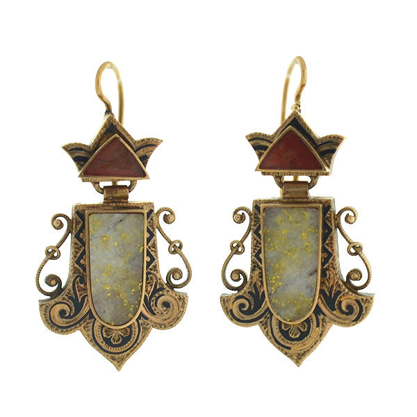 Victorian 15kt Enameled Carnelian & Gold Quartz Earrings