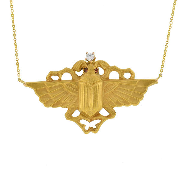 Art Nouveau 14kt Egyptian Revival Gold Scarab Necklace