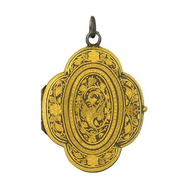 Victorian Blackened Silver & Gold Leaf Floral Locket